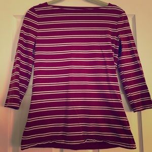 Burgundy and white striped boat neck top
